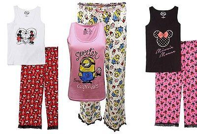 Womens Pajamas Disney Mickey Mouse Minnie Minion Size Small, Medium,Large 1X,XL (Womens Minion Pajamas)