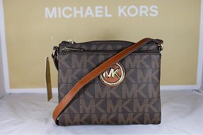 NWT Authentic Michael Kors Fulton Signature Brown PVC Large Crossbody Bag Purse
