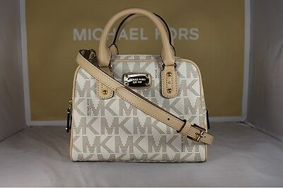 NWT Authentic Michael Kors Saffiano Vanilla PVC Mini Satchel Crossbody Bag Purse