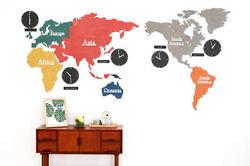 Big Large World Map Wall Clock Wooden DIY Sticker Puzzle Home Decor EcoMix 220CM