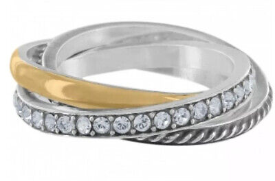 Brighton NEPTUNES RINGS Trio RING 💍 SIZE 9 Silver Gold & Swarovski crystal NWT