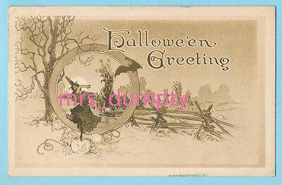 HALLOWEEN Gibson WITCH & Bat Woodland Scene ~ HTF Arts & Crafts POSTCARD - Halloween Bat Arts Crafts