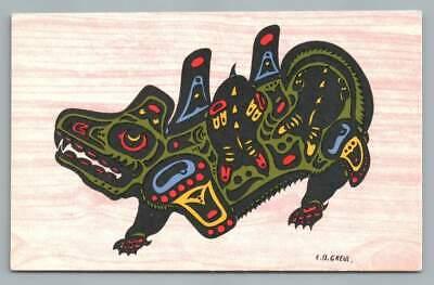 Wasgo Seamonster~British Columbia Indian PC Artist-Signed CB Greul~1950s