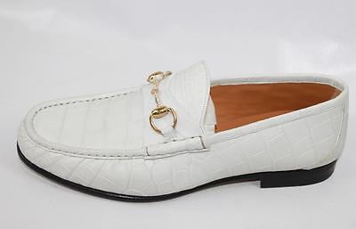 14c11f5845d AUTH  2595 Gucci Men White Crocodile Horsebit Loafer Shoes Gucci 8 US8.5