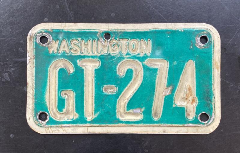 Original 1968-1975 Washington Motorcycle License Plate. GT-274 YOM Legal