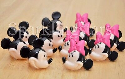12 Minnie Mouse And Mickey Mouse Cupcake Rings Birthday Party Favors - Mickey And Minnie Birthday Party