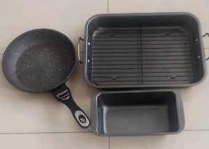 frying pan and baking trays $9