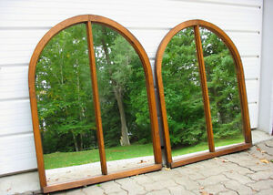 Unusual Pine Window Mirrors, Mostly Antique