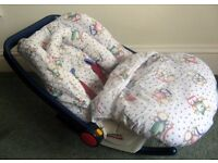 Britax 'rock-a-bye' Infant Car seat and accessories to keep your baby warm & dry