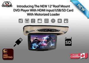 New 12″ HD Digital Flipdown Roof Mount CAR DVD Player HDMI