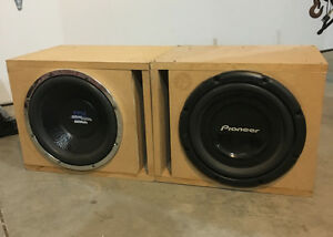 """Two 12"""" subwoofers and ported subwoofer boxes"""