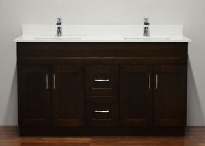"""Solid Wood Vanity Sale - White Shaker 24"""" to 72"""" with quartz top"""