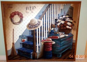 Folk Art Oil Painting (Country Stairs by Huntington)