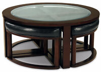 Coffee Table with 4 Ottoman Wedge Stools