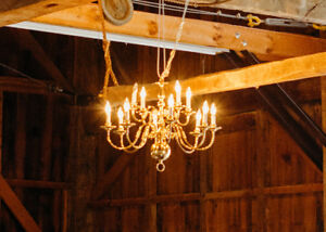 Large Brass Chandelier for Events, Weddings, Decor