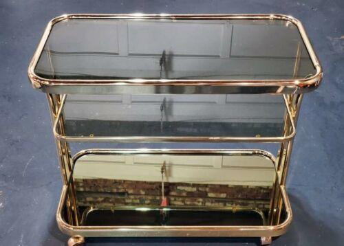 Vintage Tea Cart smoky glass/Brass Serving