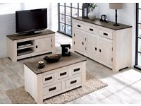 Brand New Ultimo Two Tone Solid Pine Sideboard Bookcase Coffee Table TV unit Solid Wood