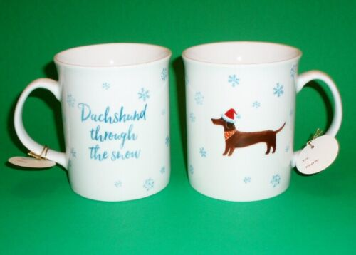 "Set of 2 ""Dachshund Through the Snow"" Christmas Holiday Cups / Mugs"