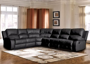 ON SALE 6PC BLACK BONDED LEATHER SECTIONAL SOFA SET W/ RECLINER