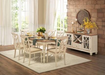 SALE 7 Pce Azalea Dining Table Chairs AV At Both