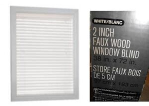 """New Hometrends 2"""" Faux Wood Blinds -- 38"""" x 72"""""""