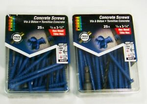 "2 - Cobra 25 Pack 1/4"" x 3-1/4"" Hex Head Concrete Screws"