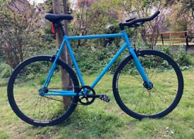 Blue single speed fixed gear road bike hybrid bicycle 210