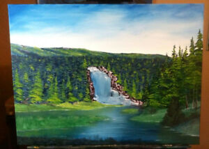 "Sheaves Cove oil painting ""Hidden Falls"""