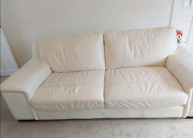 Cream leather 3 seater sofa and arm chair