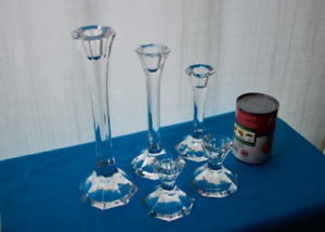 candle holder -- heavy glass with simple design : 2 related sets