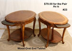 #23 Matching Oval Wood END TABLES