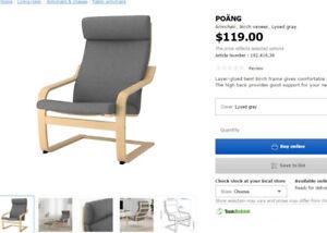 POÄNGArmchair, birch veneer, Lysed gray$40
