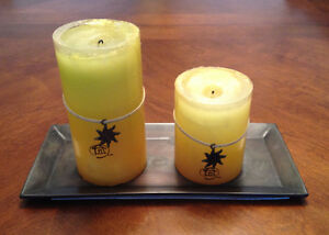 Set of 2 Candles with tray
