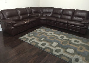 Brown Faux Leather Sectional With Console