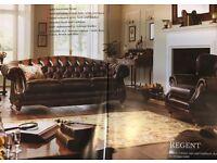 Regent antique leather four piece suite