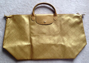 Longchamp Le Pliage Special Edition Gold Large Travel Bag NEW
