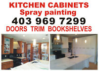 KITCHEN CABINET SPRAY PAINTING. DOORS TRIM WALL PAINTING