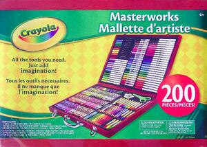 *NEW*Crayola 200-Piece Masterworks Art Case-Crayon-Pencil-Marker