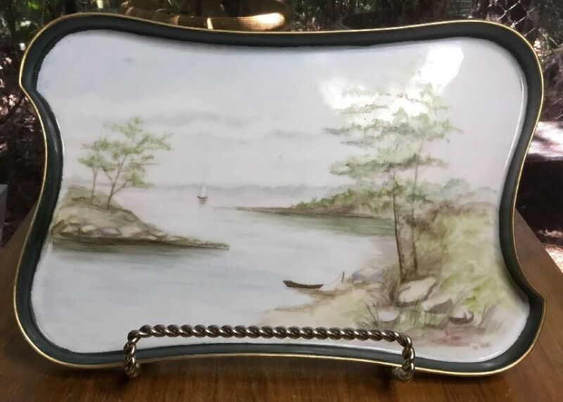 Antique French Art Tray with Handpainted Porcelain as Canvas Signed c.1890s