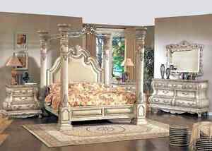 Caledonian White Traditional Poster Canopy Bedroom set with armo
