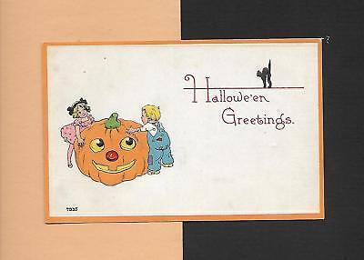 Spooky JACK 'O-LANTERN, CHILDREN On Authentic Vintage HALLOWEEN Postcard