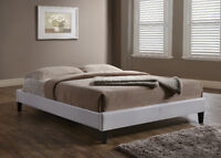 White or Espresso Low Profile Leather Platform Bed, Ships FREE!