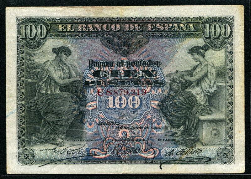 Spain 1906, 100 Pesetas, P59a, VF