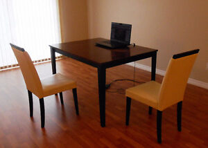 Dining table plus leather chairs (two) plus printer