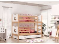CHILDREN'S BUNK BED IN PINE/WHITE WITH TWO MATTRESSES AND STORAGE DRAWER, NEW