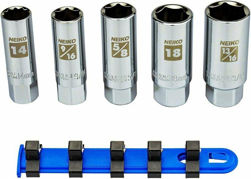 NEIKO 02500A Spark Plug Socket Set | Rubber Retaining Inserts | 5 pieces | 3/8