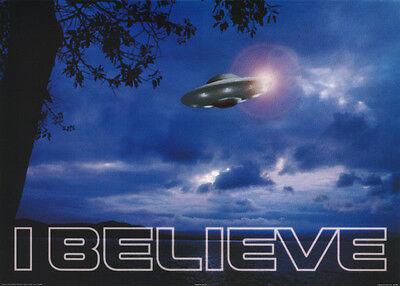 POSTER: SCIENCE FICTION:  I BELIEVE -  UFO - BLUE -   FREE SHIP  #PO7019 RW1 F