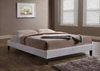 NEW!  White or Espresso Faux Leather Platform Bed Frame