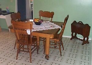Antique Maple table & Press back chairs