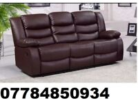 3 Seater leather Reclining Sofa brown
